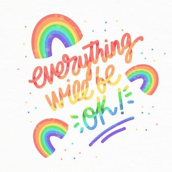 Mensaje motivacional con arcoiris