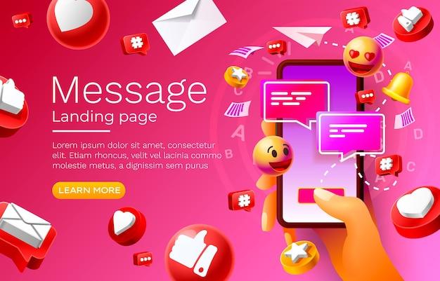 Mensaje con muchos iconos de chat para la comunicación de personas vector de página de destino