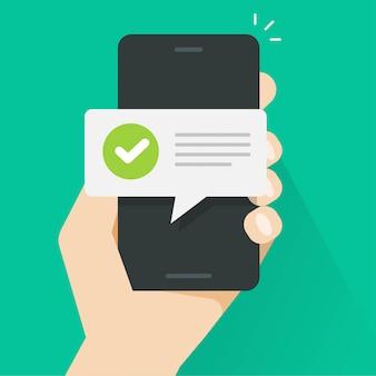 Mensaje de notificación de notificación push en el teléfono inteligente de la persona del teléfono móvil