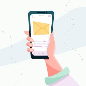 Mensaje en la pantalla del teléfono inteligente concepto de redes sociales. ilustración de dibujos animados plano de vector para diseño de sitios web y banners