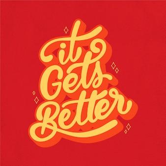 Mensaje positivo letras estilo años 70