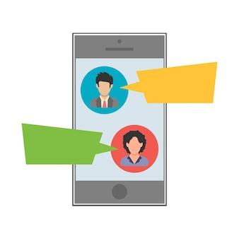 Mensaje de texto. sms entre hombre y mujer en un dispositivo móvil. icono de personas en estilo plano. ilustración vectorial