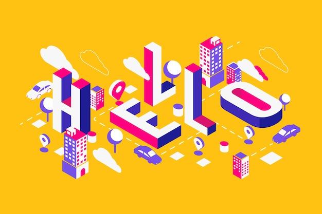 Mensaje de tipografía isométrica hola