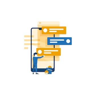 Mensajería móvil / ilustración vectorial de chat