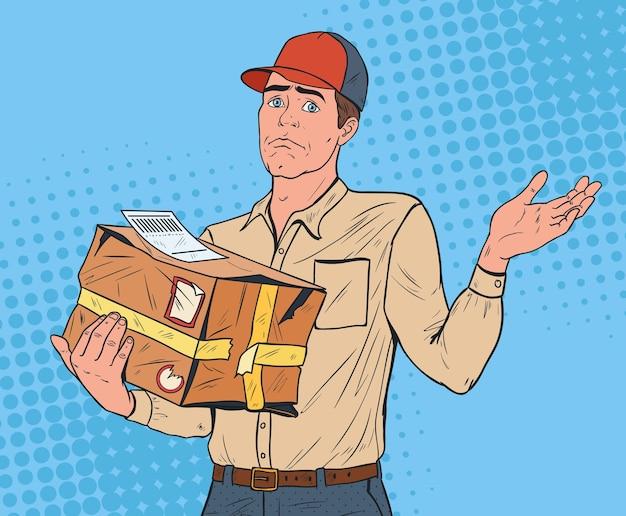 Mensajero de arte pop con paquete dañado. repartidor con paquete estrellado. servicio de envío urgente.