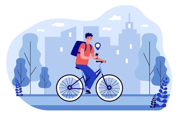 Mensajero en bicicleta entregando el pedido mediante gps. repartidor de hombre montando bicicleta obteniendo direcciones de seguimiento de productos en línea en la aplicación de teléfono inteligente. concepto de servicio de entrega. ilustración de vector de dibujos animados plana.