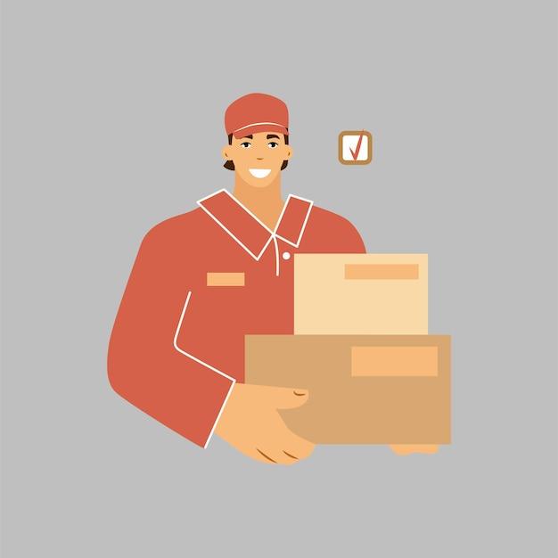 Un mensajero en cajas con uniforme. entrega rápida de mercancías. ilustración vectorial.
