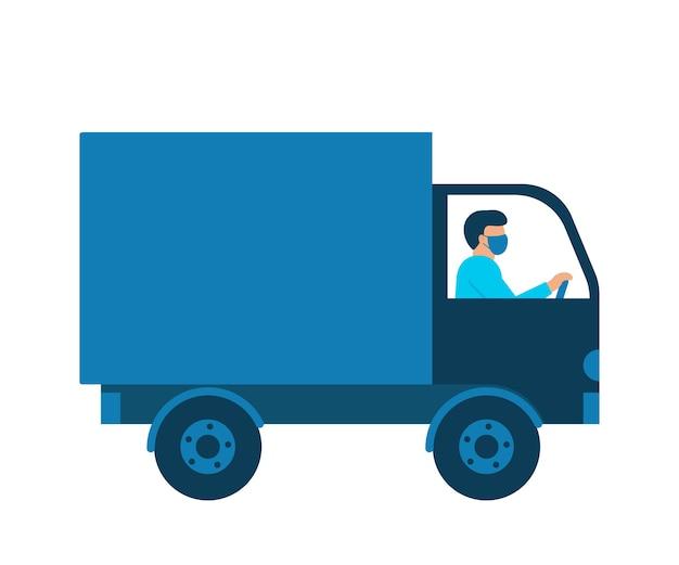 Mensajero de coche con caja de mercancías, repartidor en máscara respiratoria.