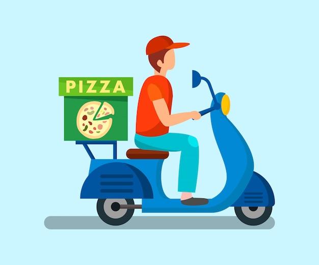 Mensajero, conducción, moto, plano, ilustración