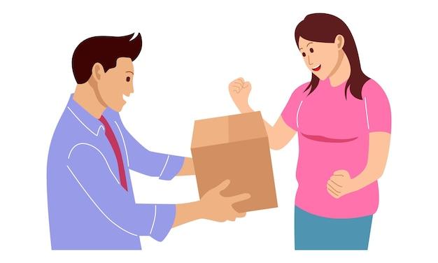 El mensajero le da un paquete a la niña