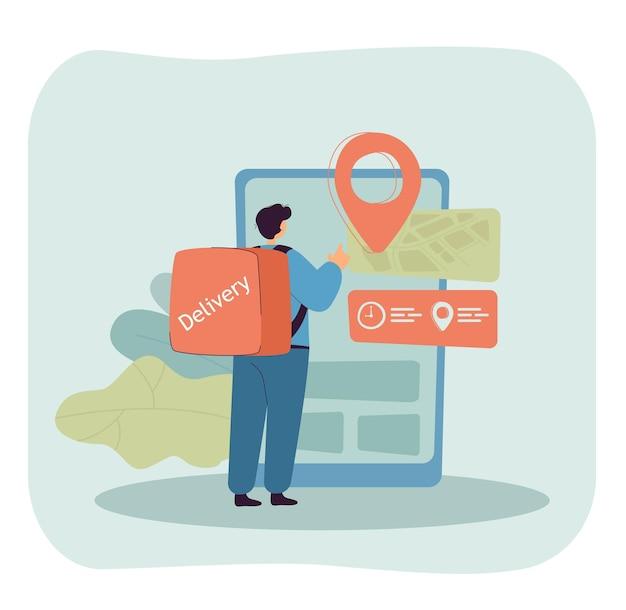 Mensajero de dibujos animados comprobando la ubicación a través de un gran teléfono inteligente
