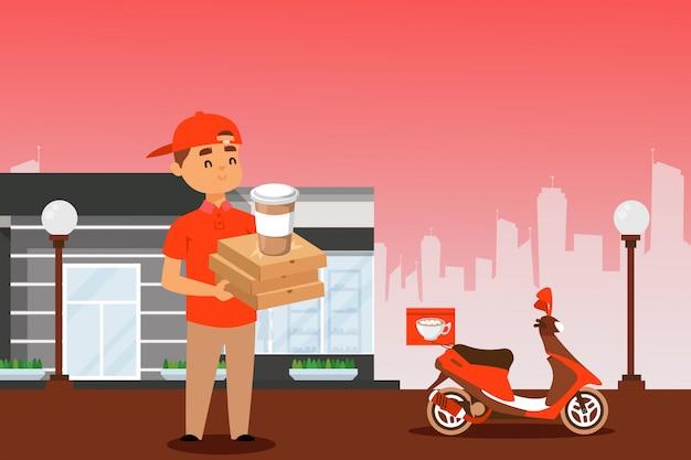 Mensajero de entrega de alimentos con caja de pizza y taza de café, personaje de dibujos animados hombre