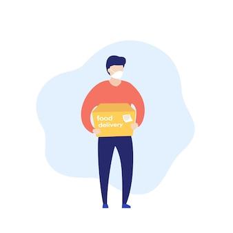 Mensajero de entrega de alimentos en máscara con una caja