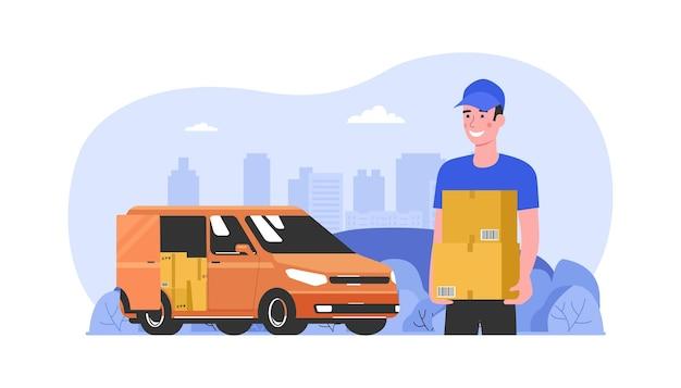 El mensajero entrega las cajas descargadas de la camioneta de carga. ilustración vectorial.