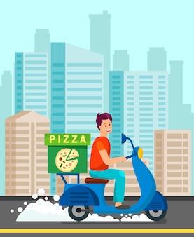Mensajero entrega la cena a la ilustración del cliente