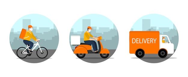 Mensajero de entrega conduciendo bicicleta, bicicleta, coche en cuarentena.