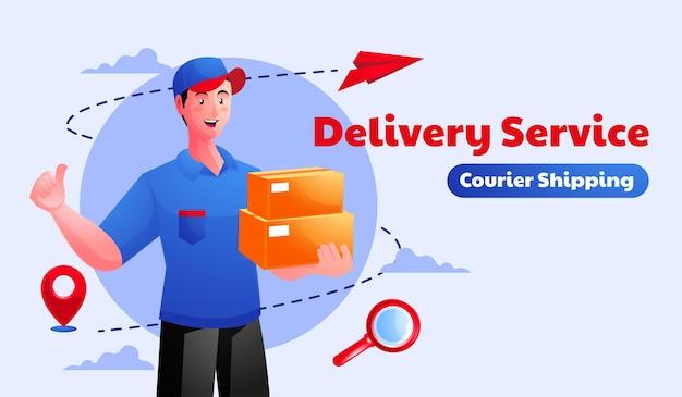 Mensajero de entrega de paquete de hombre con caja de paquete de paquete