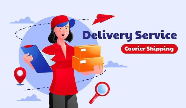 Mensajero de entrega de paquete de mujer con caja de paquete de paquete