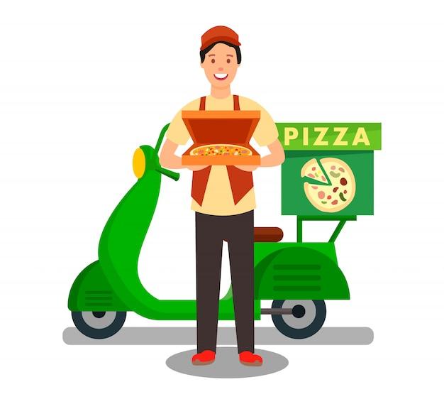 Mensajero entrega pizza ilustración plana