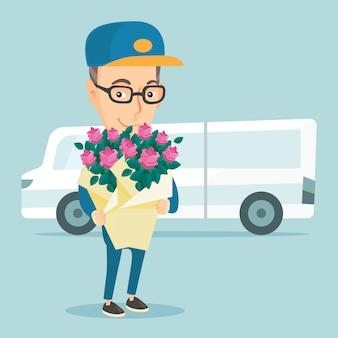 Mensajero de entrega con ramo de flores.
