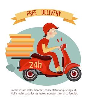 Mensajero de entrega en scooter retro con cajas, servicio de 24 horas, ilustración vectorial de cartel