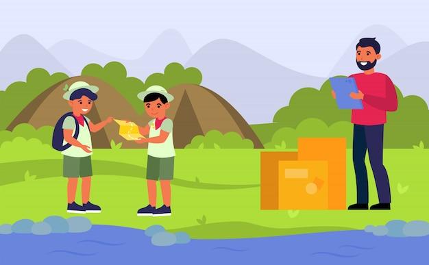 Mensajero entregando orden al campamento de exploradores