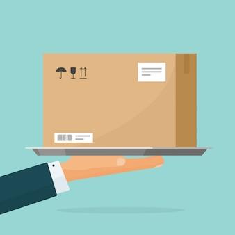 Mensajero entregar paquete caja ilustración plana dibujos animados