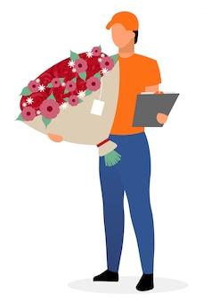 Mensajero con flores vector plano personaje.