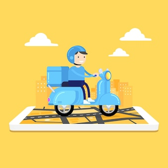 Mensajero de hombre montando scooter con caja de paquetería en el teléfono móvil y el fondo de la ciudad.