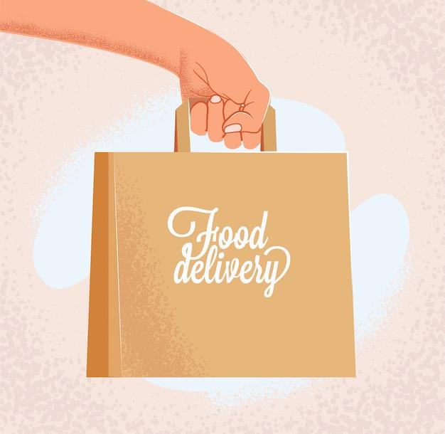 Mensajero mano extendida con bolsa de papel artesanal con signo de entrega de alimentos. concepto de banner de comida a domicilio. ilustración de estilo vintage de dibujos animados