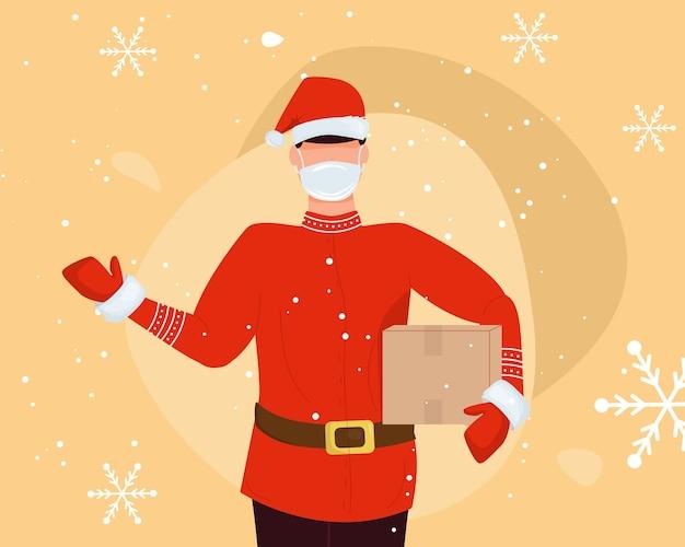 Mensajero con máscara, guantes con gorro de navidad y caja de regalo. suéter escandinavo repartidor