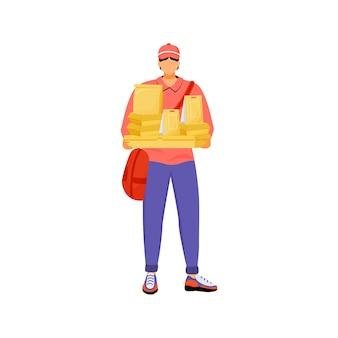 Mensajero masculino con paquetes diseño plano color personaje sin rostro