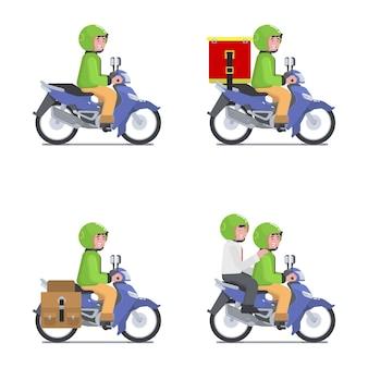 El mensajero masculino utiliza la motocicleta para el servicio de entrega de aplicaciones móviles en línea