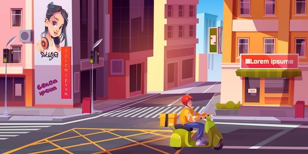 Mensajero montando bicicleta en la calle de la ciudad. joven repartidor con paquete de entrega de comestibles o productos en el paisaje urbano vacío con cruce y semáforos. ilustración vectorial de dibujos animados