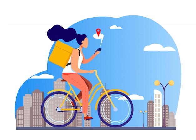 Mensajero montando bicicleta y comprobando la dirección en el teléfono