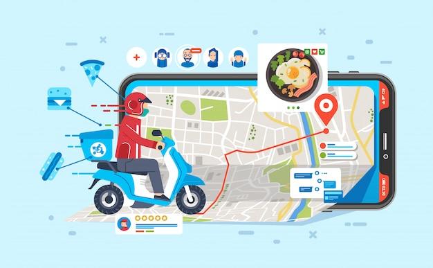 Mensajero en motocicleta para enviar alimentos ordenados por personas a través de la aplicación en la ilustración del teléfono