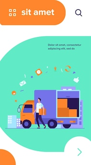 Mensajero con orden de entrega de camión