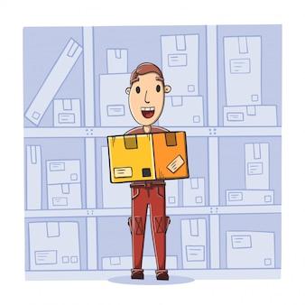 Mensajero con paquete en el almacén