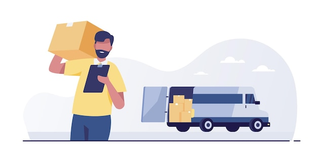 Mensajero con el paquete en el fondo de la camioneta de servicio de entrega.