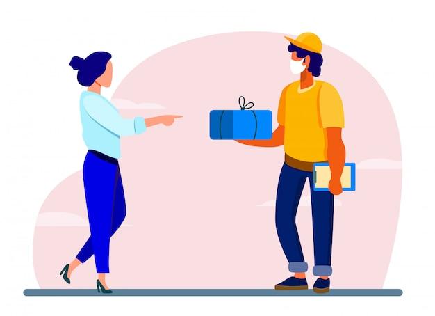 Mensajero que entrega el paquete al cliente
