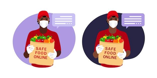 Mensajero que entrega el pedido de comestibles a la casa del cliente con máscara y guantes durante la pandemia de coronavirus