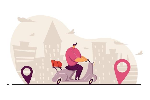 Mensajero que entrega el pedido de comida en la ciudad, monta la scooter entre los punteros del mapa, lleva el paquete. ilustración para el servicio de envío, transporte, concepto de navegación.