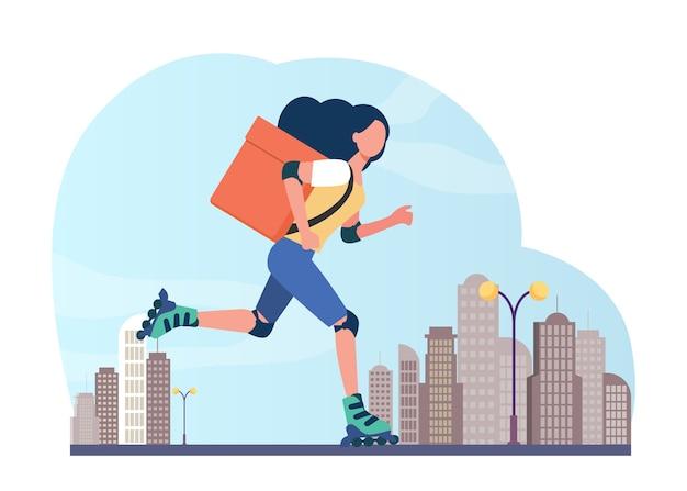 Mensajero de sexo femenino joven en el rodillo que entrega la comida. caja, velocidad, parcela ilustración vectorial plana. servicio de entrega y estilo de vida urbano