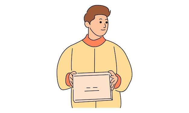 El mensajero sostiene la caja para la entrega
