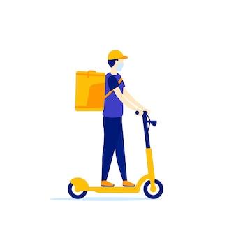 Mensajero en un trabajador de entrega de patinete