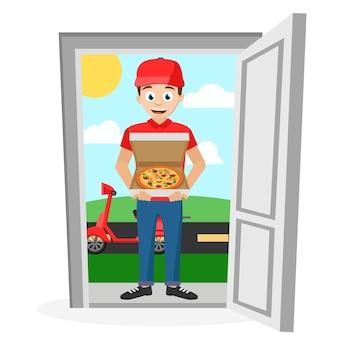 El mensajero trajo pizza en un ciclomotor y se para en la puerta abierta. sobre fondo blanco.