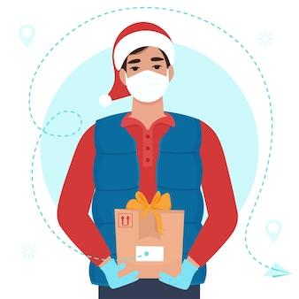 Mensajero en uniforme cálido y gorro de papá noel y máscara médica. ilustración plana