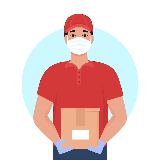 Mensajero en uniforme y máscara médica. servicios de entrega en cuarentena. prevención de infecciones por virus.