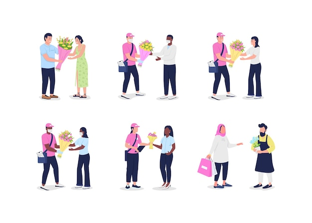 Mensajeros de entrega de flores con el conjunto de caracteres detallados y sin rostro del vector de color plano de los clientes. reciba la ilustración de dibujos animados aislados del ramo para el diseño gráfico web y la colección de animación
