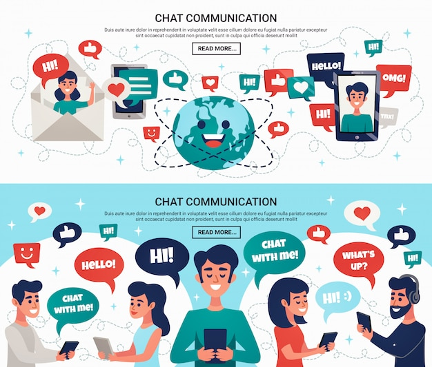 Mensajes de chat electrónicos banners horizontales